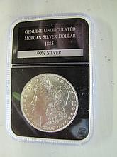 1885 P Uncirculated Morgan Silver Dollar.Slabbed. Case.