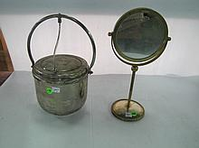 (6)Silverplate Ice Bucket & Mirror On Stand.