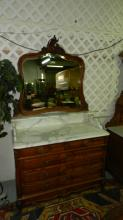 223) Stunning antique French carved marble top dresser, with beveled mirror, bronze floral pulls, parquet sides, COND VG. Special shipping required