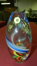 unique colored glass Mid Century style vase, with twist design, cond VG
