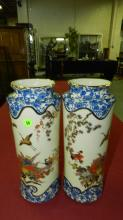 2 piece lovely porcelain Asian bird and flower scene vases, marked on base, cond VG
