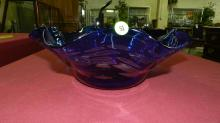 unique colored glass Mid Century style vase / bowl, signed, cond VG