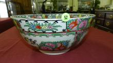 large Chinese rose medallion bowl, newer, cond VG