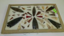 large group of Native American arrowheads,