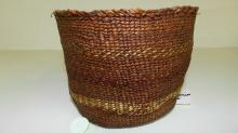 nice antique Native American hand woven simshian cedar bark basket, 19th cent, 4x6