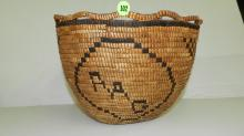 outstanding antique Native American Nisqually-Cowlitz basket, 9x12, hand woven letters RAG, from the estate of Ray A. Gamble, Ray Gamble (c.1886-1972), long time resident of Tacoma, Washington, was a traveler, philanthropist, millionaire businessman and magician, call
