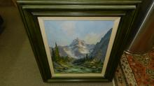 2) vintage framed oil painting on board, Mountain range scene, great colors, signed Herb Schraml (Washington) listed artist, World Renowned German-American Muralist and master Painter landscape, framed