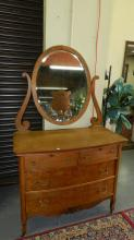 Wonderful American oak carved antique dresser with beveled mirror, special shipping req