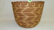 wonderful antique 19th century Quinault Native American hand woven basket, with nice geometric design, show loss due to age,
