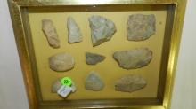 42) framed goup of Native American stone tools, hide scrapers
