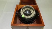 Vintage ship / boat compass in box
