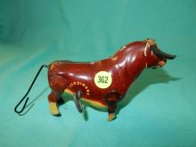 Tin litho wind up toy bull (Ferdinand), works, missing one piece foam horn