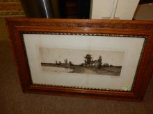 14) Antique framed etching farm house, as found