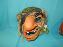 112) Rare child's paper mache painted Halloween mask, with burlap style hair, (Pirate)