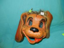 113) Rare child's paper mache painted Halloween mask, with burlap style hair, (Dog)