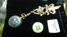 Lovely Victorian ladies lapel watch, gold plated, Areo Watch, Neuchatel, Swiss made. COND VG