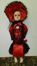 44) Lovely antique bisque head doll, with quality outfit, cries. COND VG. Aprox. 23