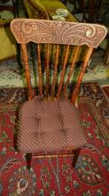 2) 4 piece carved antique dining chairs, matching, special shipping req