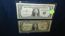 2 piece US Silver Certificates one dollar bills, one from Hawaii 1935A, 1957
