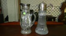 2 piece crystal / glass decanters / pitchers, left one has sterling silver top, but glass is cracked, right one silver plate cond VG