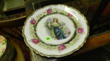 16) lovely porcelain plate with young woman scene, cond VG