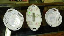 3 piece antique painted porcelain oval dishes