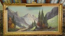 Nice antique oil painting on canvas, mountain scene, in carved frame, signed, with artist info on reverse, Special shipping required