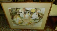 6) Framed watercolor of abstract sailboats, signed