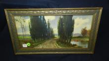 nice framed R. A. Fox litho, country road, cond VG