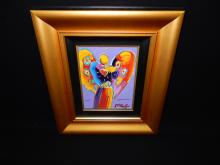 1) Original acrylic painting on canvas by well listed artist Peter Max titled Angel With Heart Ver XII #25, canvas is 12' x 9 1/8, hand signed in pigment LR, comes with COA appraisal, valued at $16,000.00 consignor stated he has worked with Peter Max and purchased this work at dinner with him, comes in quality gallery frame
