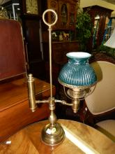 10) Vintage brass student lamp, with green shade