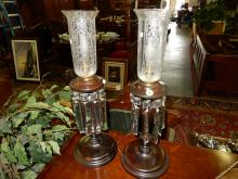 2 Piece wood base, electric, candle style lamps with prisms, etched shades and single cord