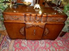 Antique, oak carved, art deco sideboard. Special shipping required