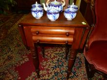 Early American, walnut, double dropside sewing / lamp table. Special shipping required