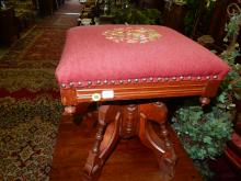 24) Victorian carved needlepoint piano / organ stool. Special shipping required