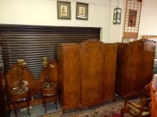 Outstanding 5 piece art deco burl wood carved bedroom set with 2 nightstands, double jointed headboards, triple door wardrobe, double door wardrobe. Special shipping required