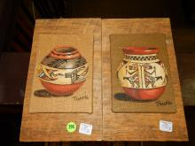 8) 2 piece Native American painted art, vessels