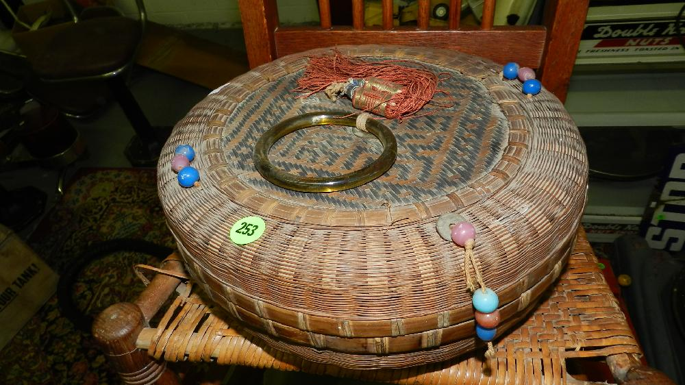 Chinese sewing basket, loaded with postcards