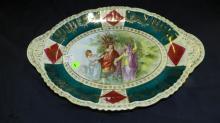 37) Antique porcelain portrait plate, beehive mark, Royal Vienna, cond VG