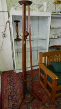 Original American oak Arts And Crafts free standing coat / hat rack, tri-pod design and brass hooks, cond VG, special shipping required