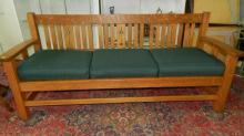 Outstanding American oak Arts & Crafts labeled Limbert settee, vertical slat back having arrow design, redone upholstered, cond VG special shipping required
