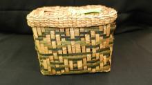 Nice, vintage, Native American, hand woven, Salish lidded cedar bark container