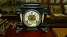 4) Lovely antique pillared mantle clock, COND G-VG missing two small pillars one on each side (see photo)