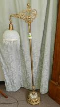 49) Lovely antique / vintage style, metal floor lamp, with frosted / beaded shade and onyx design Special shipping required