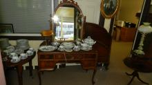 1) Lovely 2 piece 1920's vanity and matching bed, cond VG special shipping required
