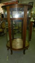 4) Vintage oak leaded glass, curved glass china cabinet, special shipping required