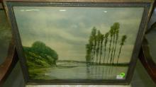 Vintage framed lake litho