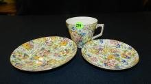 3 piece Chintz floral cup and saucer set, cond VG