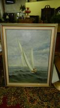large oil painting of sailboat at sea, signed, special shipping required