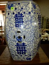 Lovely Asian blue and white garden seat, reads